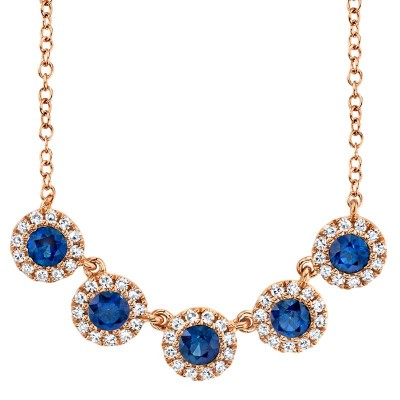 0.16ct Diamond and 0.49ct Blue Sapphire 14k Rose Gold Lady's Necklace