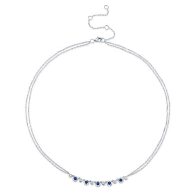 0.26ct Diamond and 0.36ct Blue Sapphire 14k White Gold Necklace