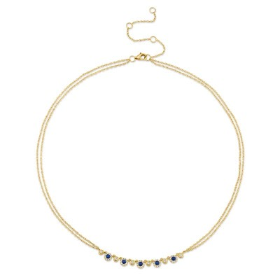 0.26ct Diamond and 0.36ct Blue Sapphire 14k Yellow Gold Necklace