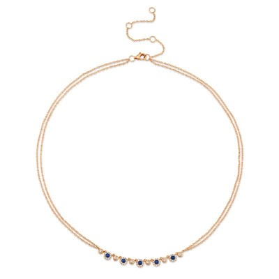 0.26ct Diamond and 0.36ct Blue Sapphire 14k Rose Gold Necklace