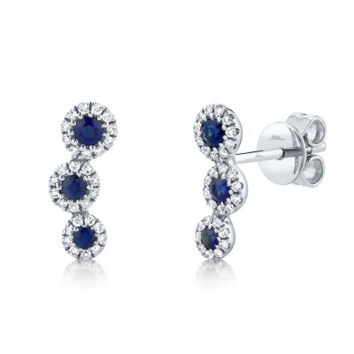 0.15ct Diamond and 0.26ct Blue Sapphire 14k White Gold Stud Earring