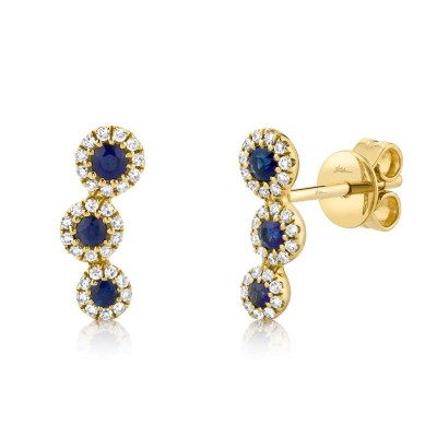 0.15ct Diamond and 0.26ct Blue Sapphire 14k Yellow Gold Stud Earring