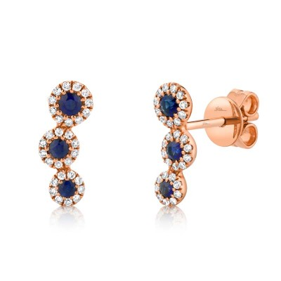 0.15ct Diamond and 0.26ct Blue Sapphire 14k Rose Gold Stud Earring