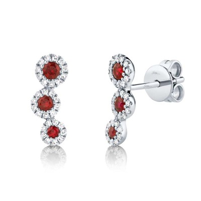 0.15ct Diamond and 0.25ct Ruby 14k White Gold Stud Earring