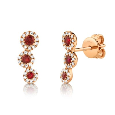 0.15ct Diamond and 0.25ct Ruby 14k Rose Gold Stud Earring