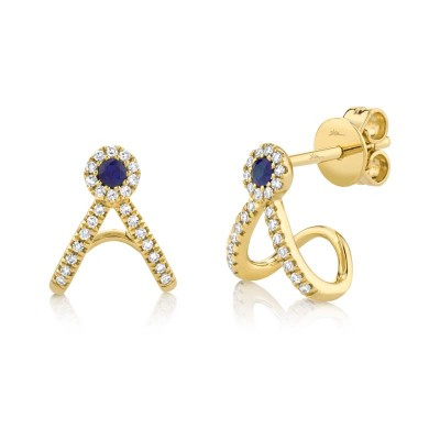 0.12ct Diamond and 0.09ct Blue Sapphire 14k Yellow Gold Earring