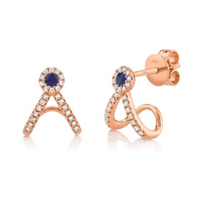 0.12ct Diamond and 0.09ct Blue Sapphire 14k Rose Gold Earring