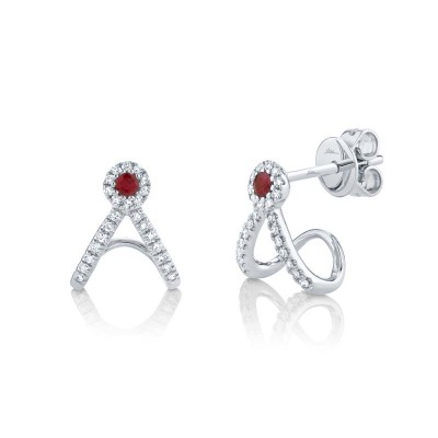 0.12ct Diamond and 0.10ct Ruby 14k White Gold Earring