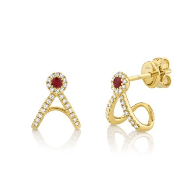 0.12ct Diamond and 0.10ct Ruby 14k Yellow Gold Earring