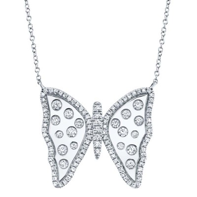 0.68ct 14k White Gold Diamond Butterfly Necklace
