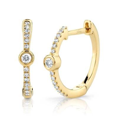 0.13ct 14k Yellow Gold Diamond Bezel Hoop Earring