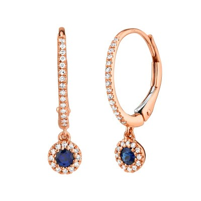 0.15ct Diamond and 0.23ct Blue Sapphire 14k Rose Gold Earring