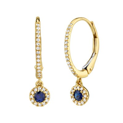 0.15ct Diamond and 0.23ct Blue Sapphire 14k Yellwo Gold Earring