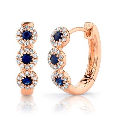 0.15ct Diamond & 0.30ct Blue Sapphire 14k Rose Gold Huggie Earring