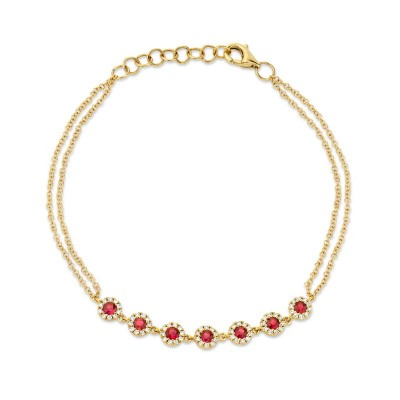 0.21ct Diamond & 0.52ct Ruby 14k Yellow Gold Bracelet