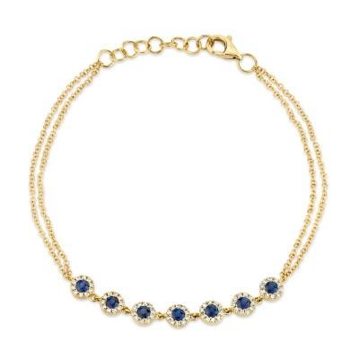 0.21ct Diamond & 0.53ct Blue Sapphire 14k Yellow Gold Diamond Bracelet