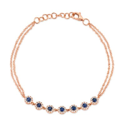 0.21ct Diamond & 0.53ct Blue Sapphire 14k Rose Gold Diamond Bracelet