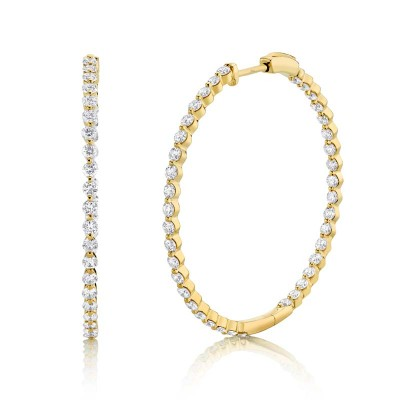 2.36ct 14k Yellow Gold Diamond Hoop Earring