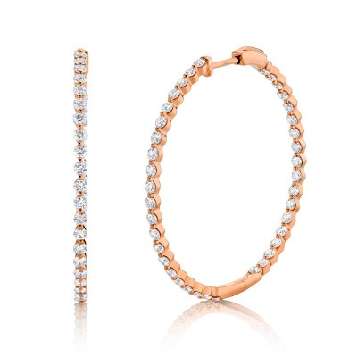 2.36ct 14k Rose Gold Diamond Hoop Earring