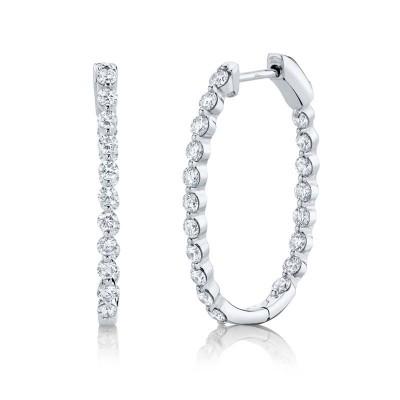 1.16ct 14k White Gold Diamond Hoop Earring