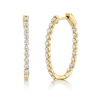 1.16ct 14k Yellow Gold Diamond Hoop Earring