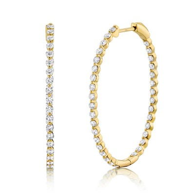 2.06ct 14k Yellow Gold Diamond Oval Hoop Earring