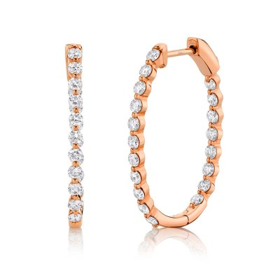 1.16ct 14k Rose Gold Diamond Hoop Earring