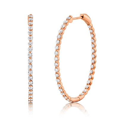 2.06ct 14k Rose Gold Diamond Oval Hoop Earring