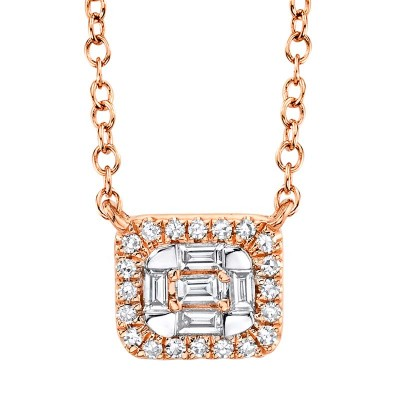 0.16ct 14k Rose Gold Diamond Baguette Necklace