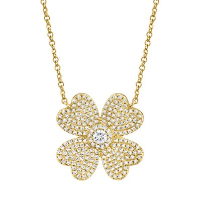 0.56ct 14k Yellow Gold Diamond Pave Clover Necklace