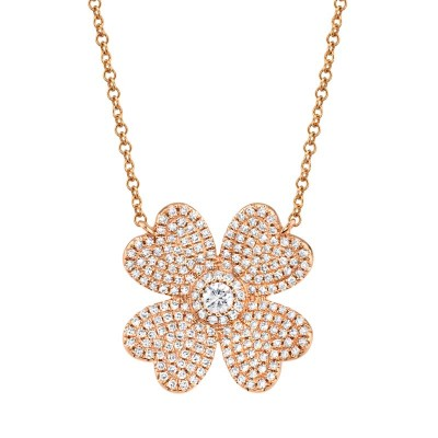 0.56ct 14k Rose Gold Diamond Pave Clover Necklace
