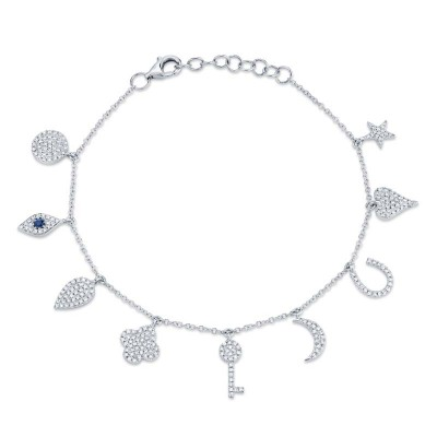 0.47ct Diamond & 0.06ct Blue Sapphire 14k White Gold Charm Bracelet