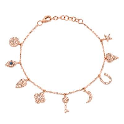 0.47ct Diamond & 0.06ct Blue Sapphire 14k Rose Gold Charm Bracelet