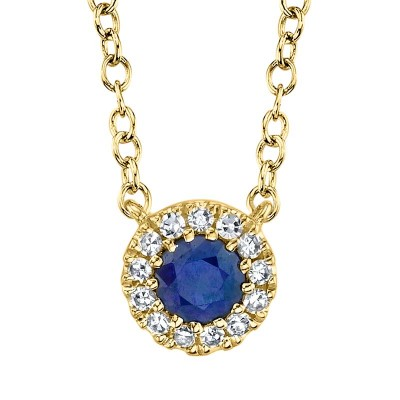 0.04ct Diamond & 0.14ct Blue Sapphire 14k Yellow Gold Necklace