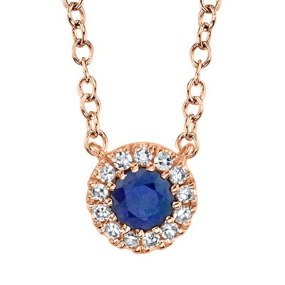 0.04ct Diamond & 0.14ct Blue Sapphire 14k Rose Gold Diamond Pendant