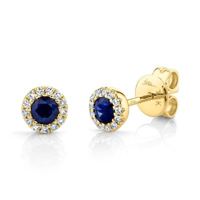 0.08ct Diamond & 0.28ct Blue Sapphire 14k Yellow Gold Stud Earring