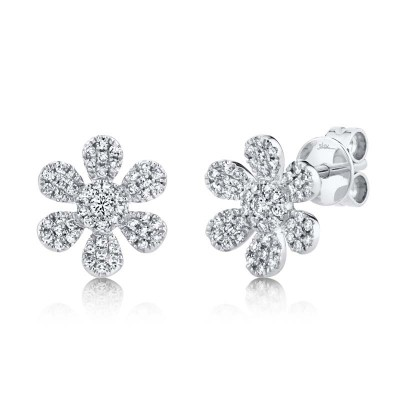0.29ct 14k White Gold Diamond Flower Stud Earring