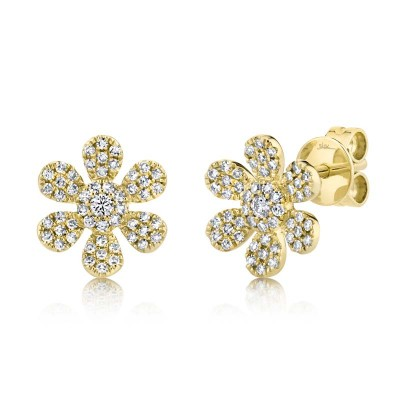 0.29ct 14k Yellow Gold Diamond Flower Stud Earring