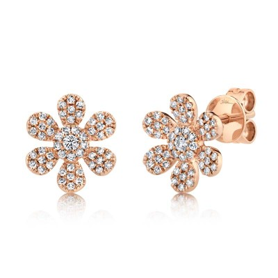 0.29ct 14k Rose Gold Diamond Flower Stud Earring