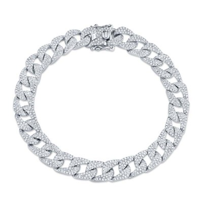 3.19ct 14k White Gold Diamond Pave Chain Bracelet