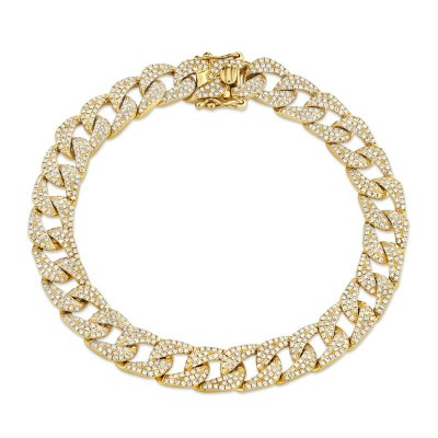 3.19ct 14k Yellow Gold Diamond Pave Chain Bracelet