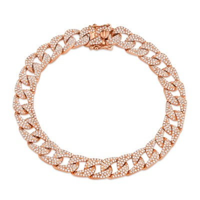 3.19ct 14k Rose Gold Diamond Pave Chain Bracelet