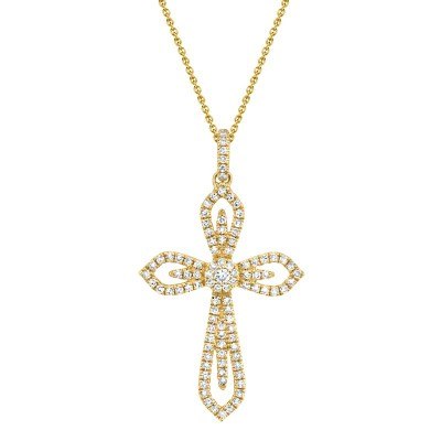 0.31ct 14k Yellow Gold Diamond Cross Necklace