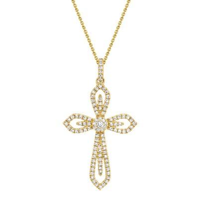 0.31ct 14k Yellow Gold Diamond Cross Necklace