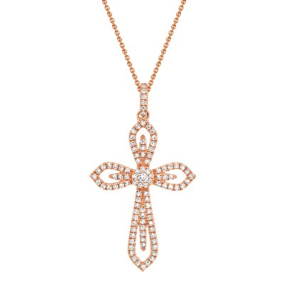 0.31ct 14k Rose Gold Diamond Cross Necklace