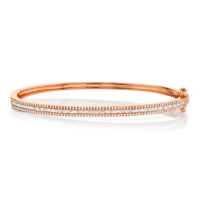 1.02ct 14k Rose Gold Diamond Baguette Bangle