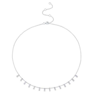 0.34ct 14k White Gold Diamond Baguette Necklace