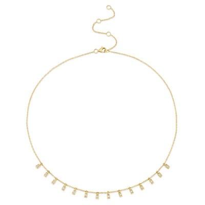 0.34ct 14k Yellow Gold Diamond Baguette Necklace