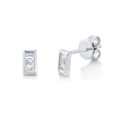 0.15ct 14k White Gold Diamond Baguette Stud Earring