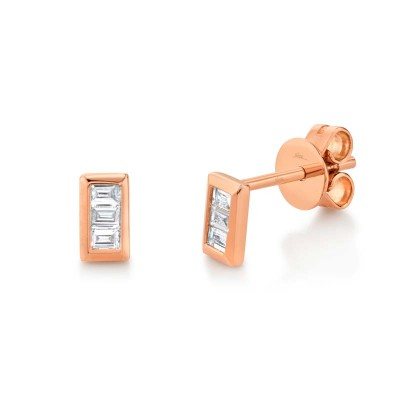 0.15ct 14k Rose Gold Diamond Baguette Stud Earring